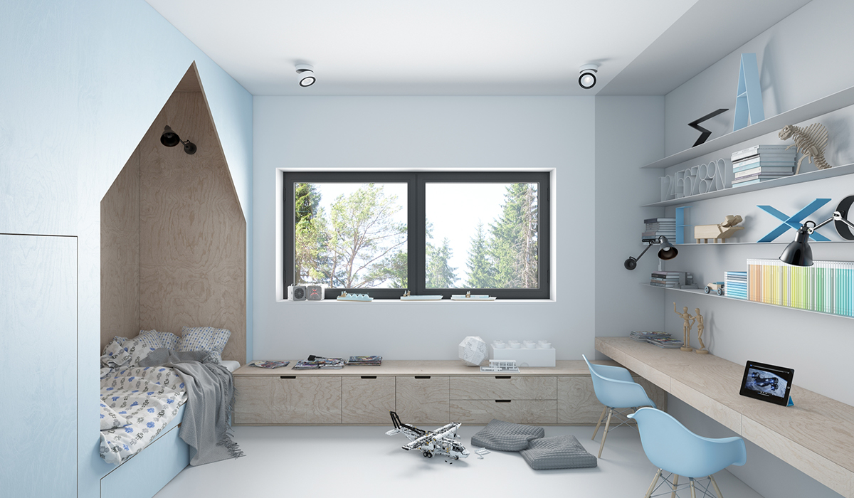 không gian phòng ngủ màu xanh