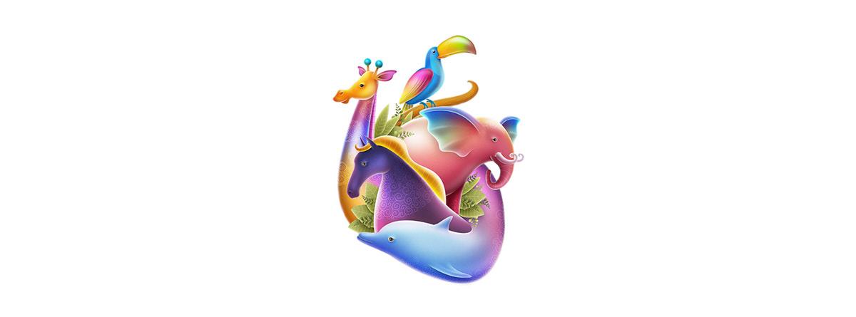 ILLUSTRATION  zoo logo monkey Behance animation  paper Drawing  heart sketch