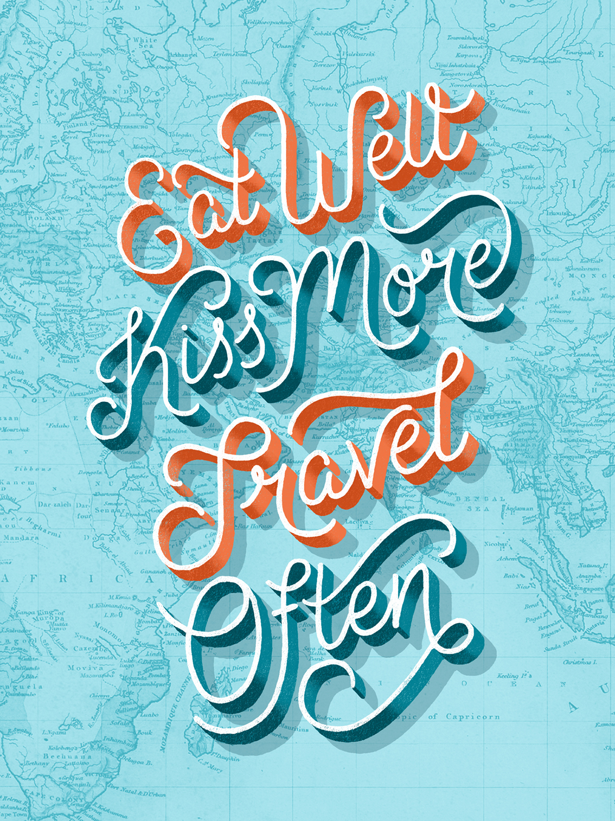 lettering HAND LETTERING Travel wanderlust posters 3D traveling map Geography letters