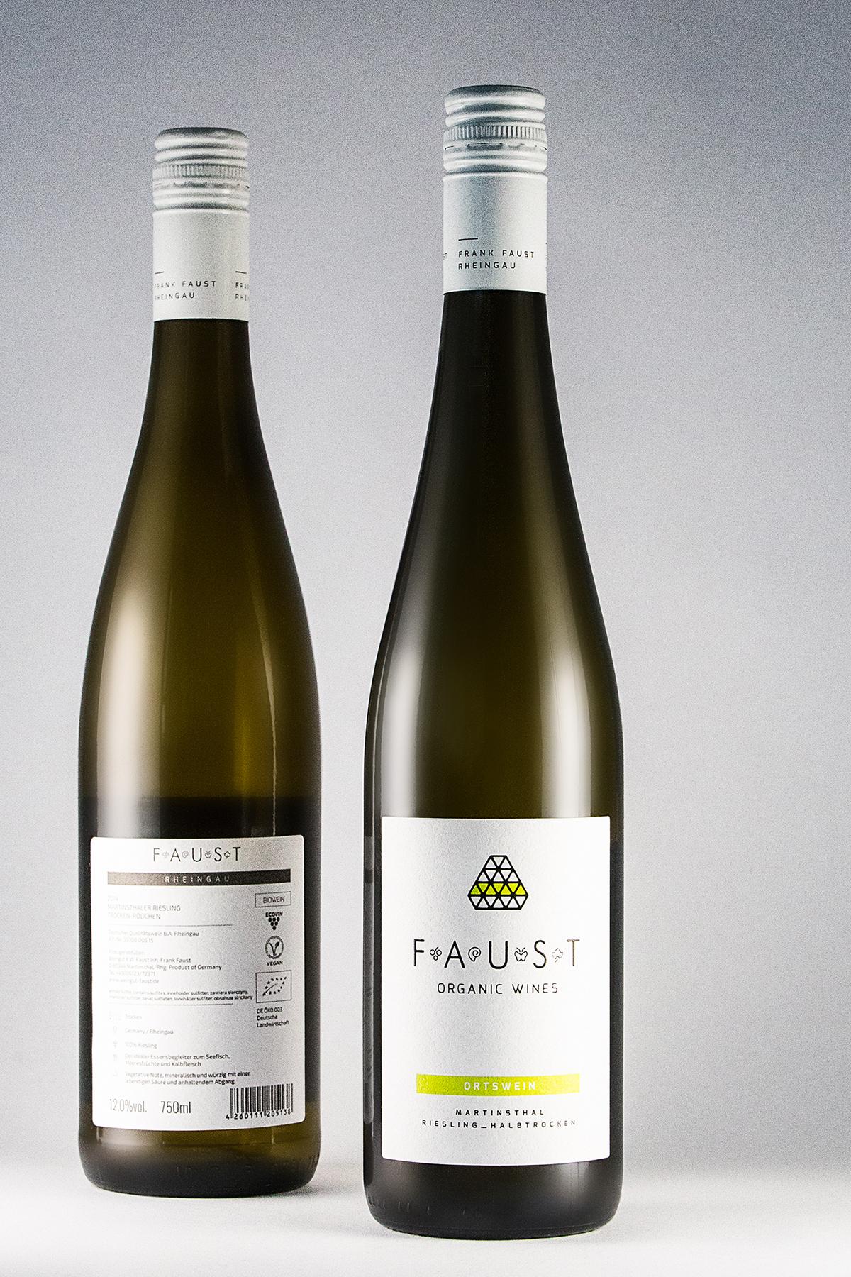 wine labels organic wine FRANK FAUST rheingau Bottle of wine boom studio
