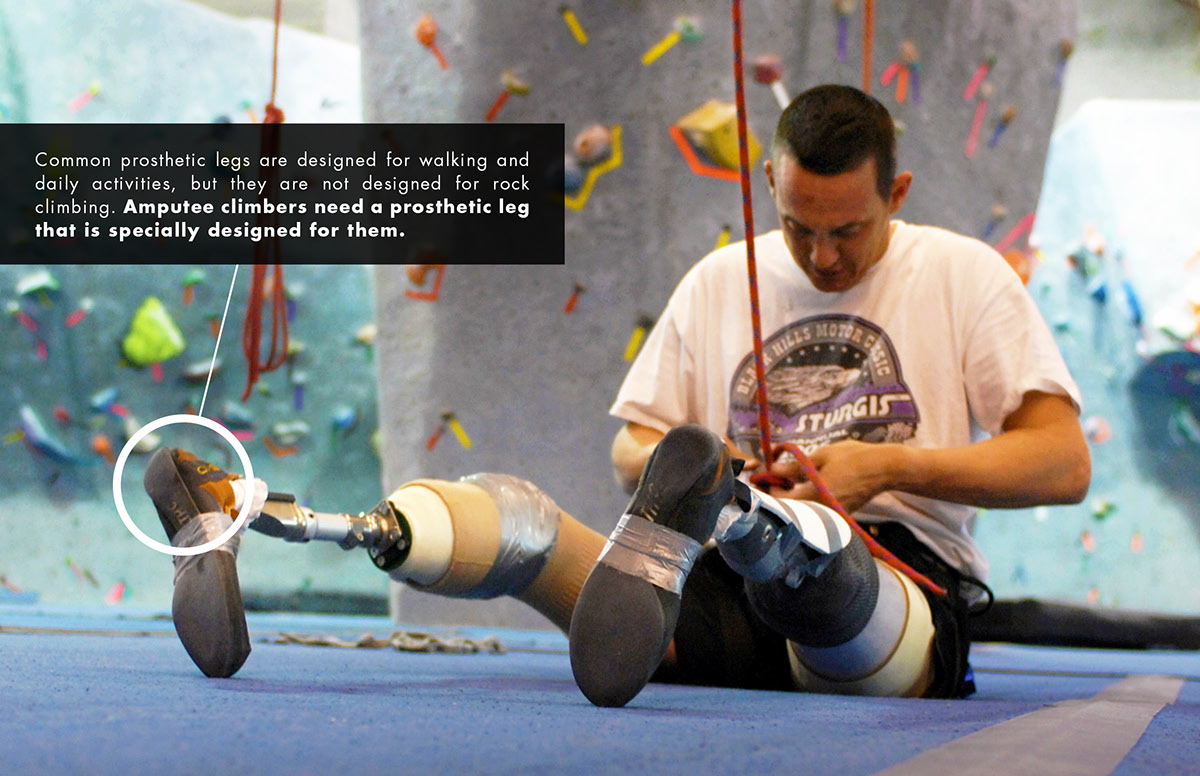 Prosthesis prosthetics prosthetic medical design research pratt leg prosthetic leg amputee soldier rock climbing climbing mountain harness carabiner