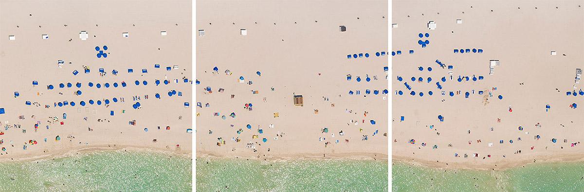 miami miami beach Aerial beach downtown ocean drive motorboats south beach