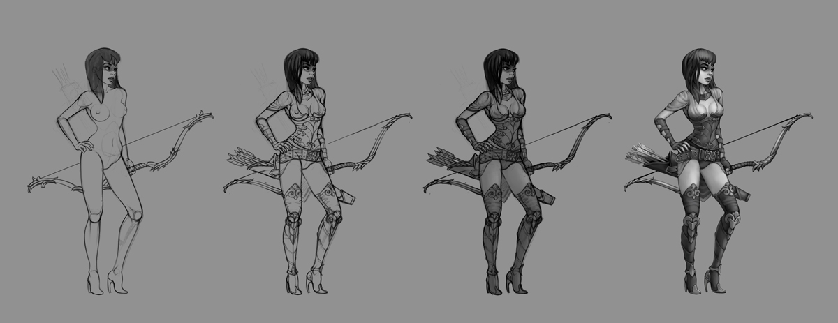 animation  spine gerl archer Hero 2D game personage video woman