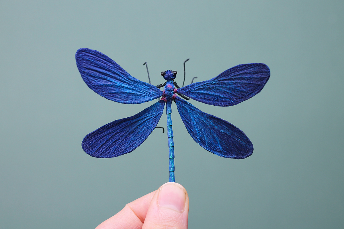 paper art craft insect paper sculpture naturalistic crepe damselfly beautiful demoiselle paper art