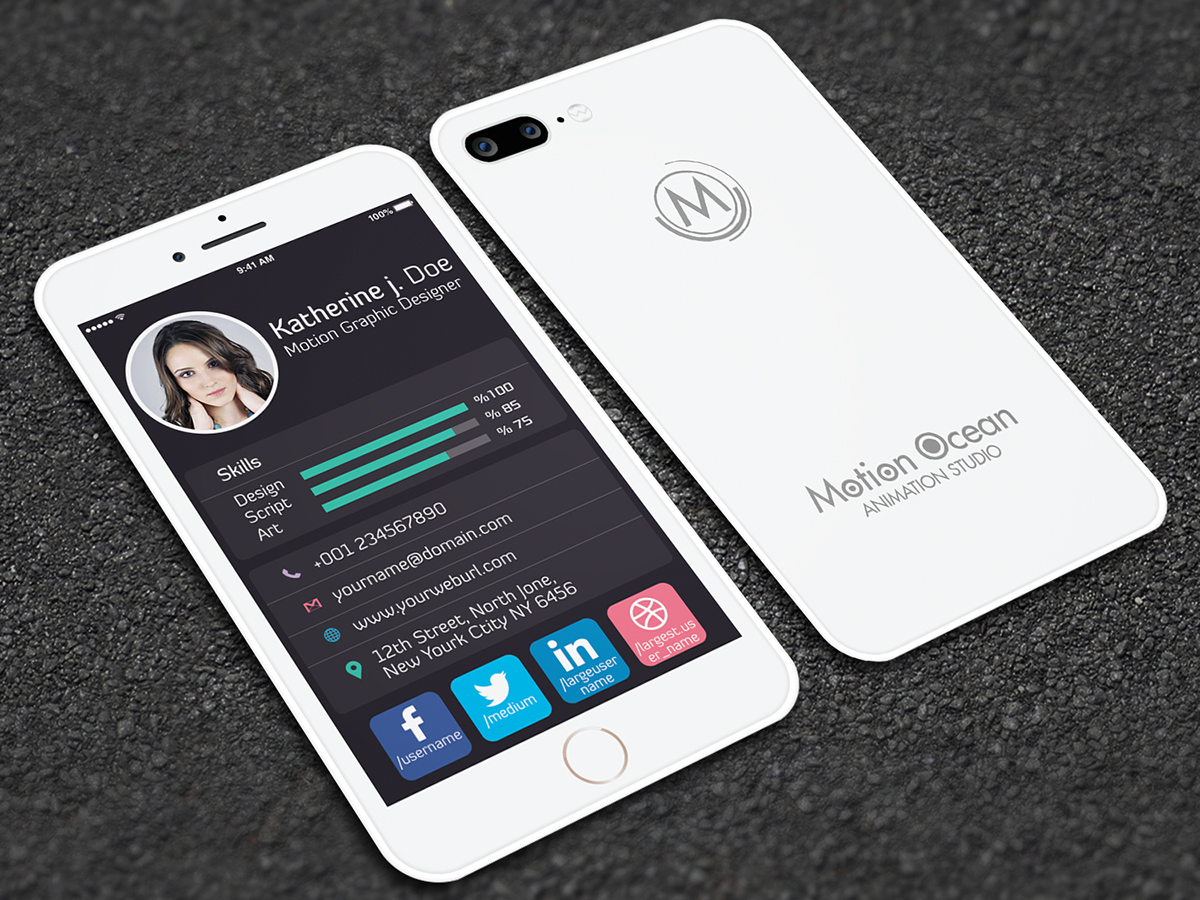Iphone Style Business Card On Behance