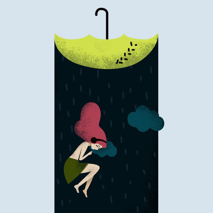 dream rain girl Umbrella ILLUSTRATION  music