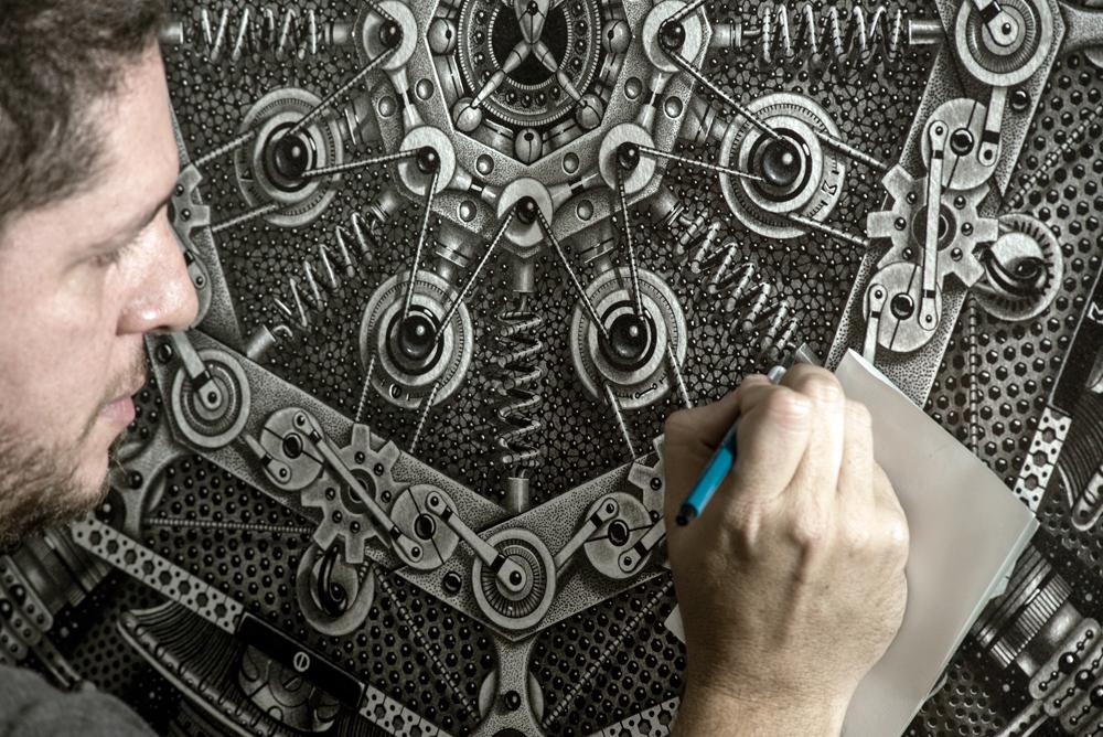iris,light,black and white,intricate,machine,STEAMPUNK,pop-surrealism,Samuel Gomez Art,monotone,grayscale,diaphragm,optics