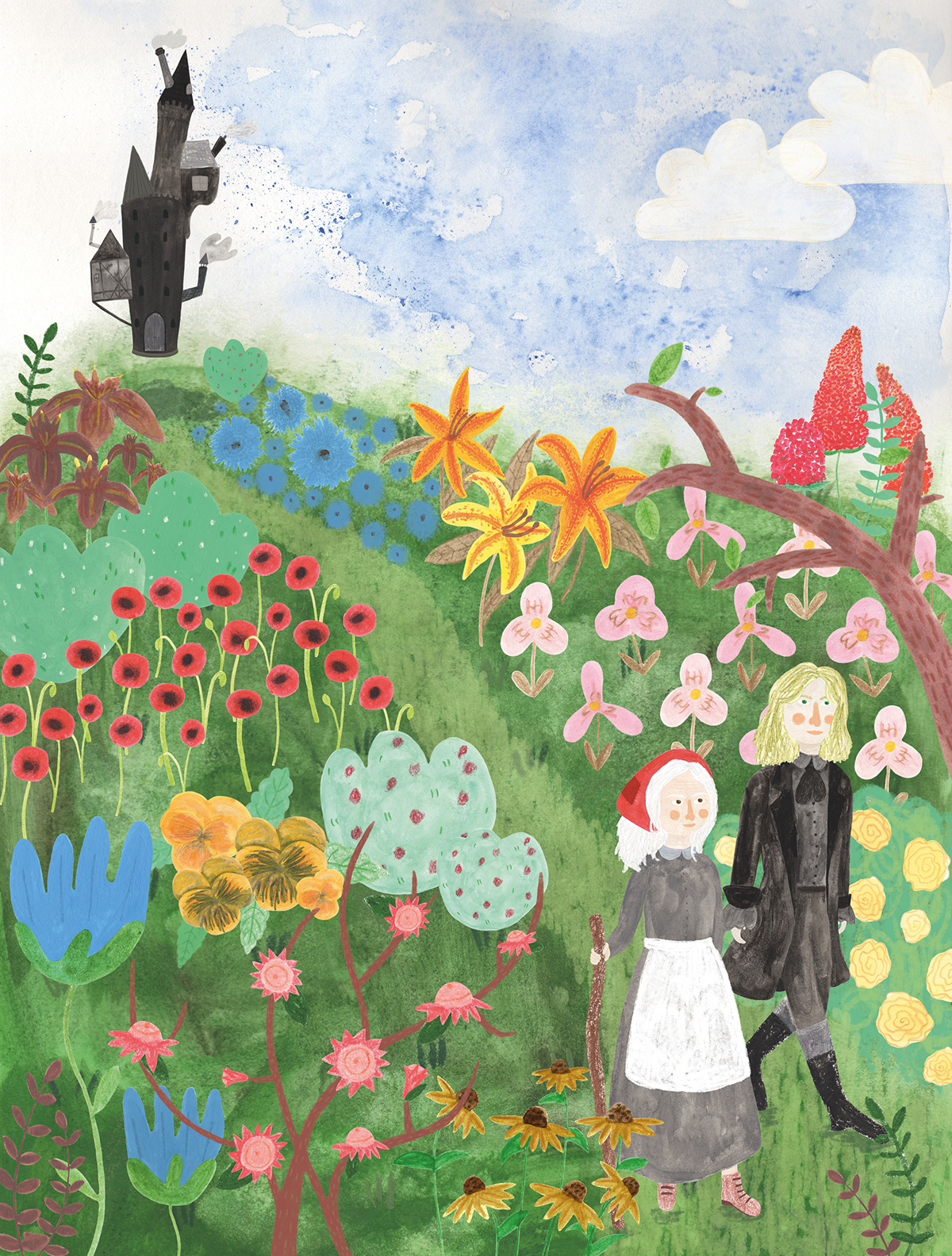 ILLUSTRATION  mixed media Magical Flowers Landscape Castle girl howl Hats marshes