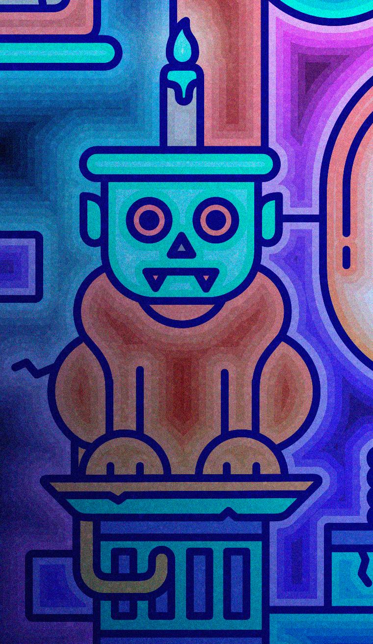 medieval Space  ranger skull buzz lightyear dog cap evil overlord staff Castle Darkside colorful trippy skateboard