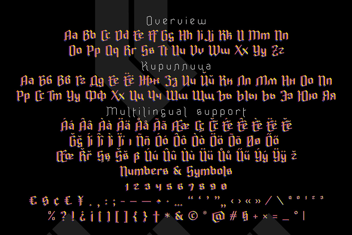 color font Fontself gothic ravenholn Free font Typeface lettering alphabet Blackletter