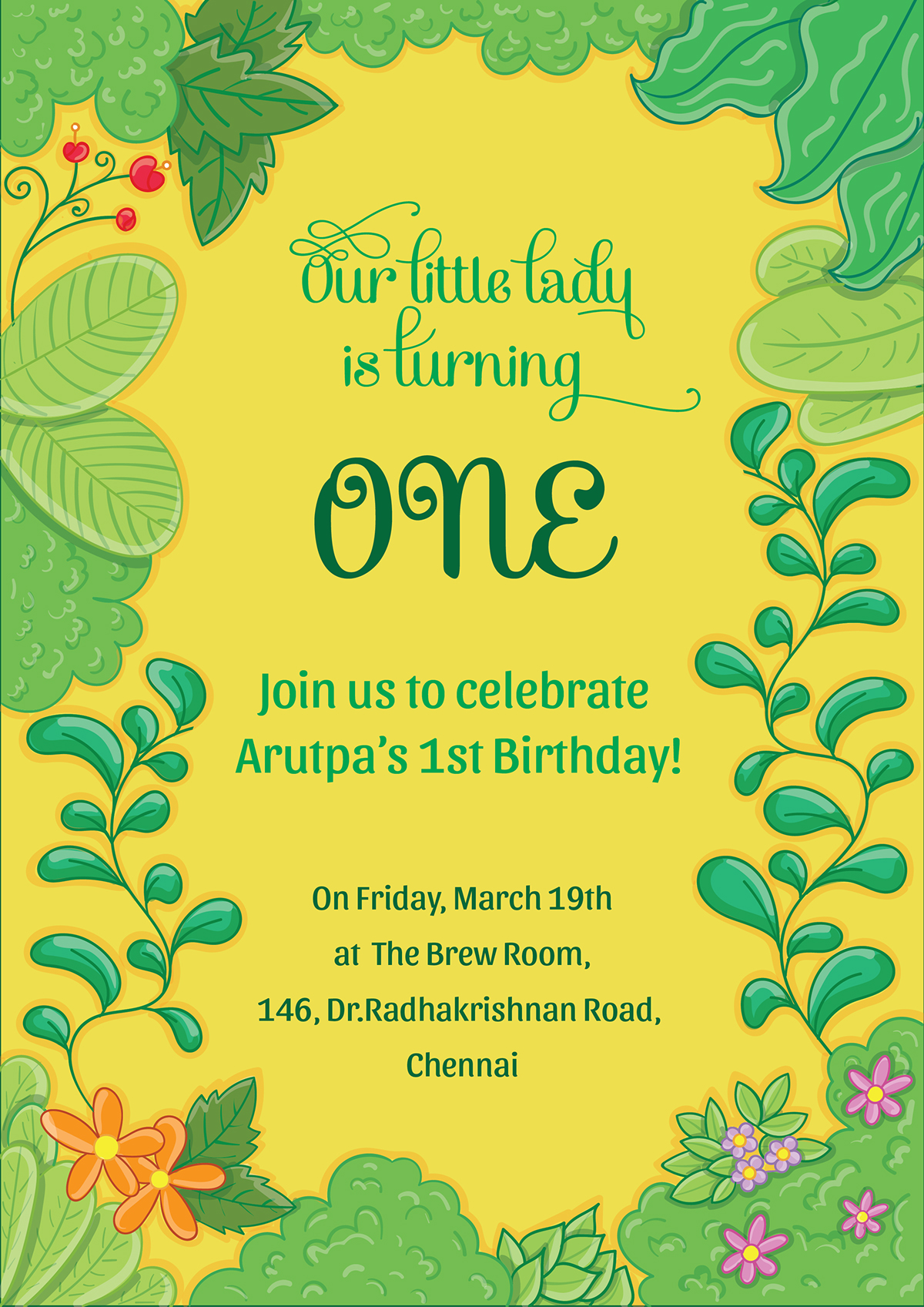 First birthday Invitation - Back