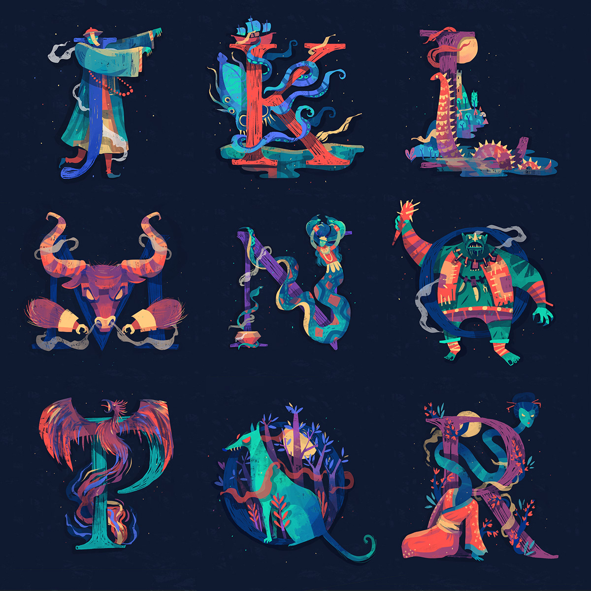 type monsters creatures A-Z alphabets mythology Folklore Character design  Legendary 36 days