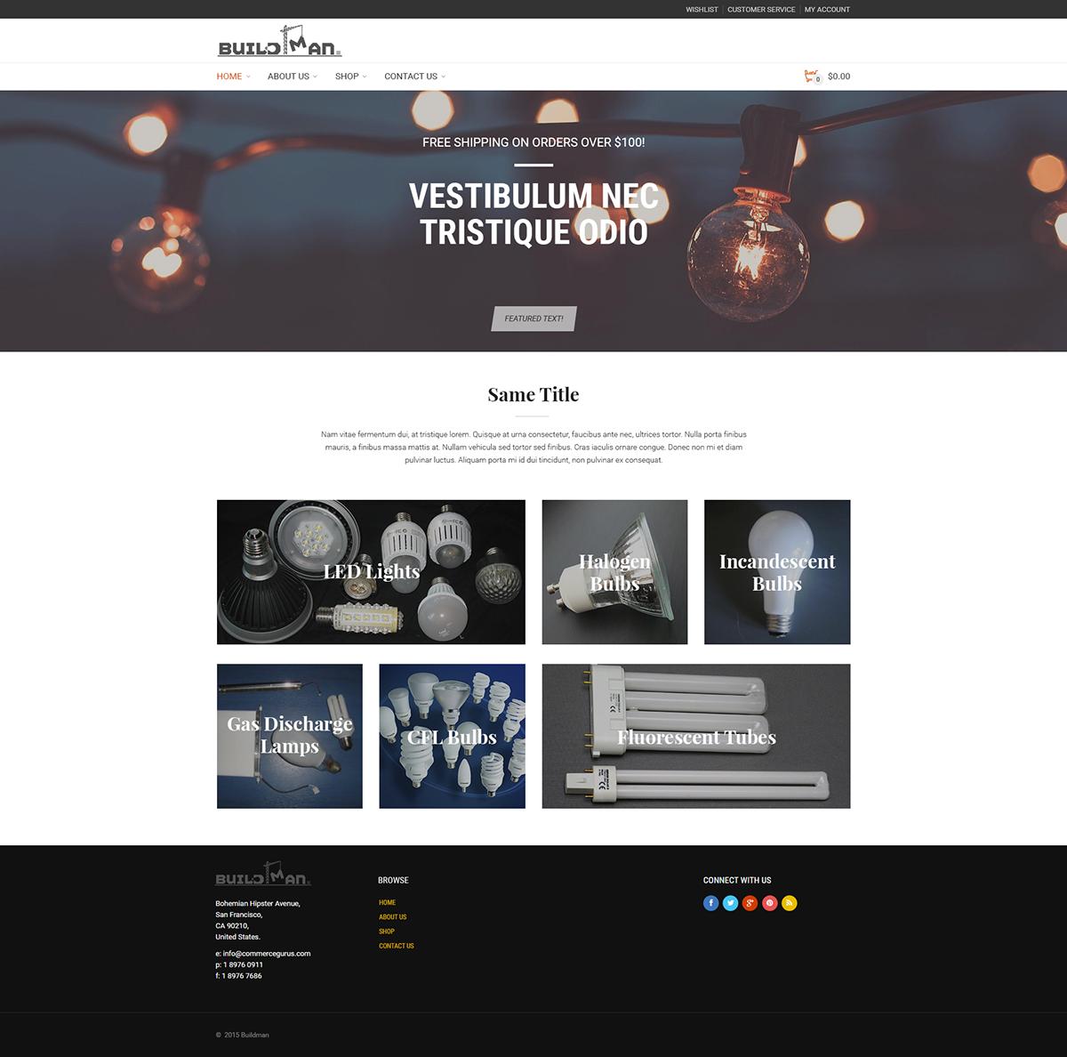 design Web Online shop online store homepage buildman lights