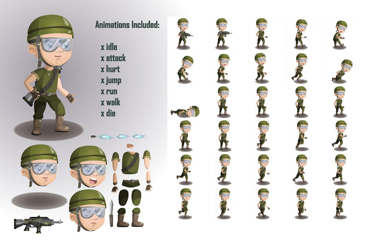 2d Character Design Software Free Download : D game soldiers character sprites sheets on behance