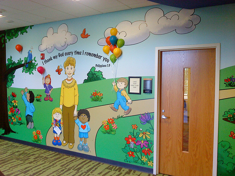 Ralph voltz preschool murals for Classroom wall mural ideas