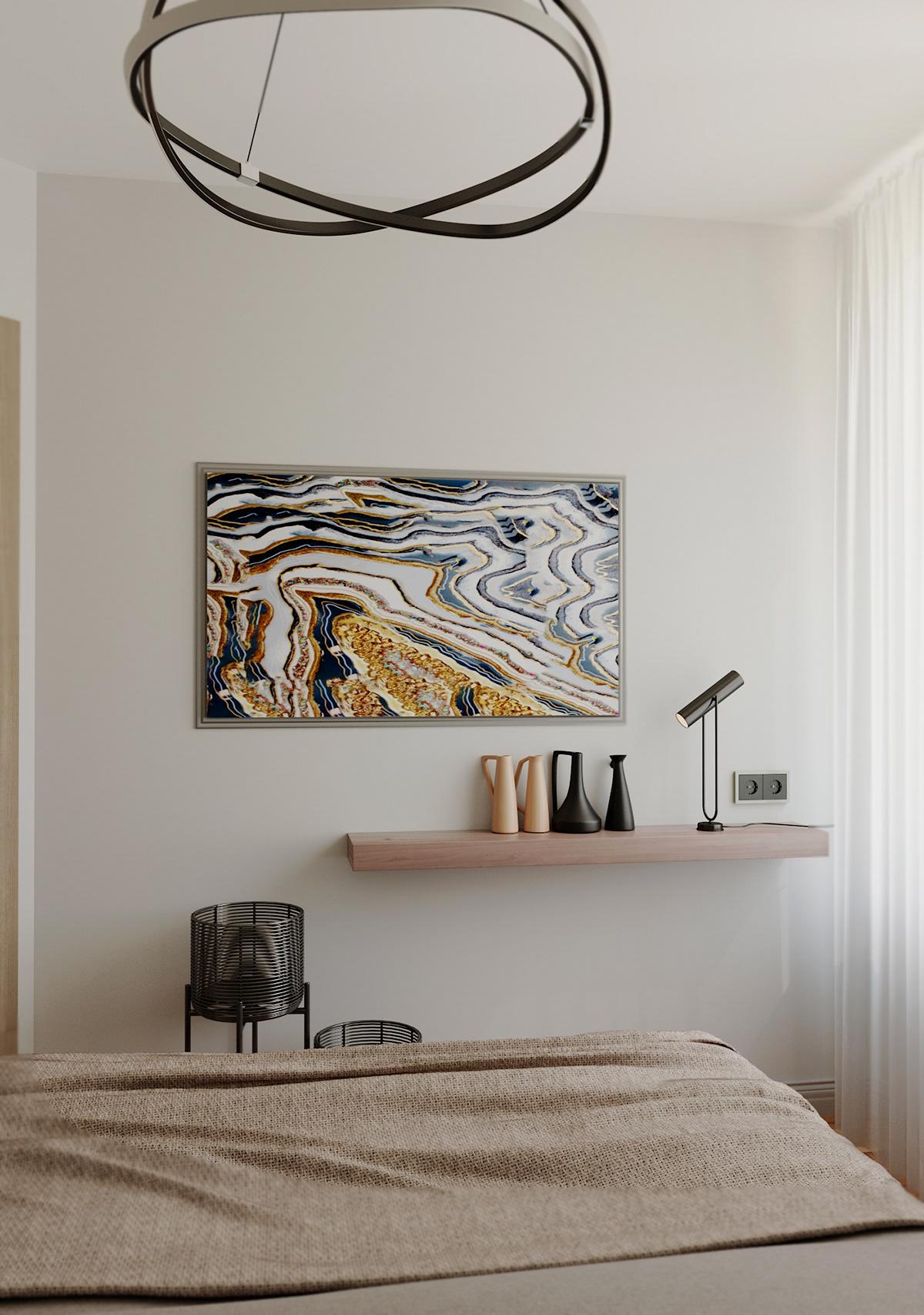 Визуализация спальни дизайн интерьера дизайн спальни маленькая спальня светлые  тона современная спальня
