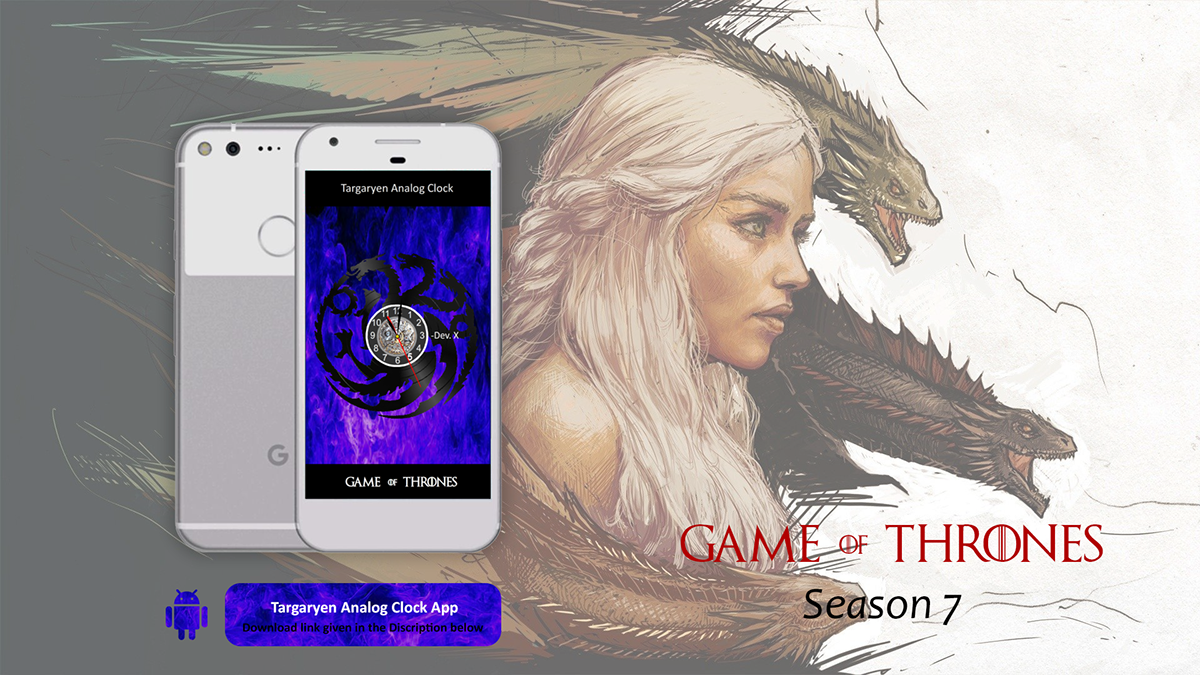 Analog Clock App Design for Android (Game of Thrones) on