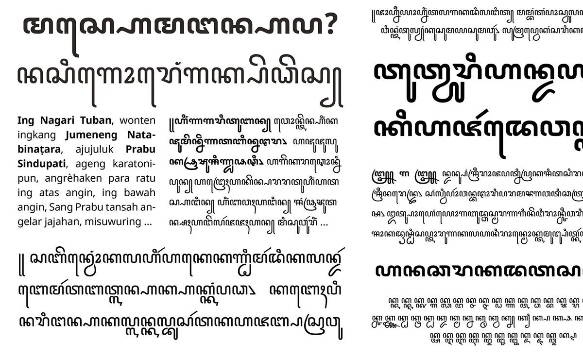 Javanese font: Noto Sans Javanese on Student Show