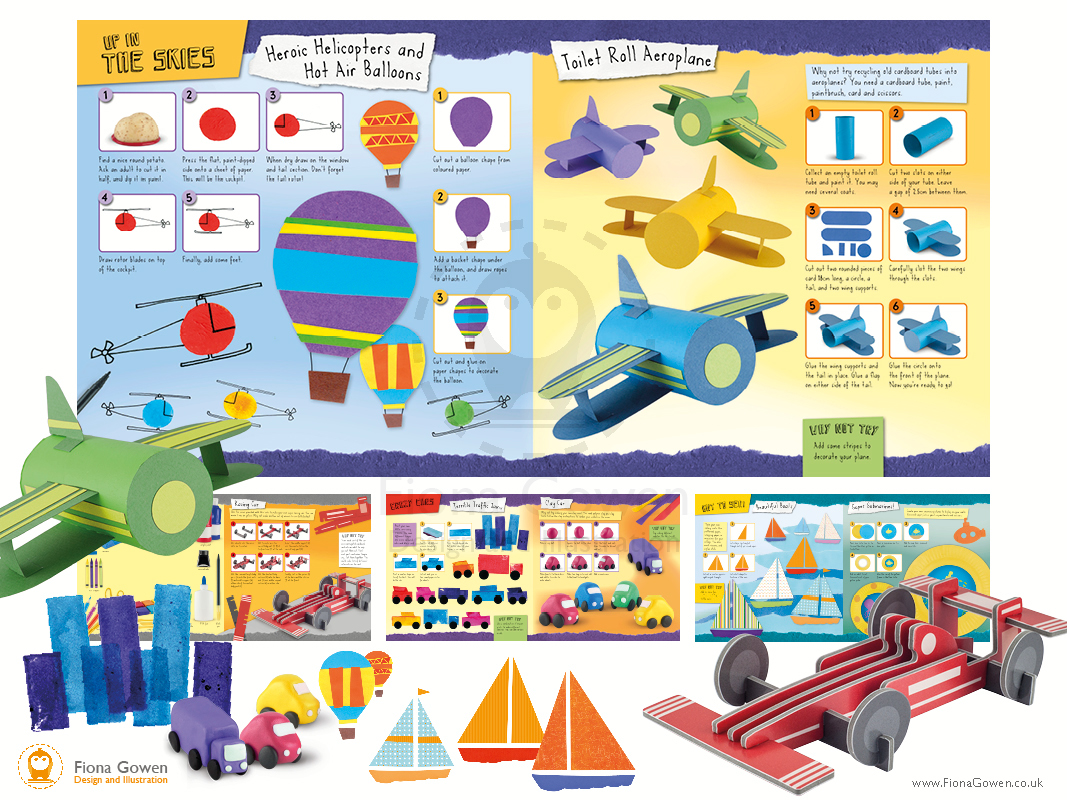 Mini Craft book interior spreads designed and illustrated by Fiona Gowen. Featuring toilet roll aeroplanes collage boats and eva slot together racing car.