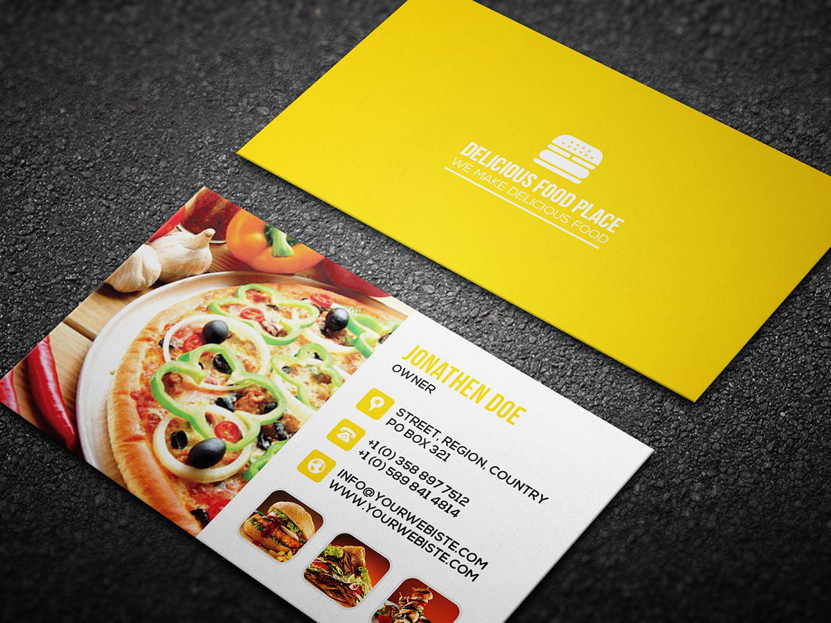 Free delicious food business card on behance here is free delicious food business card template well suitable for food truck pop up restaurant fast food fast casual buffet cafe family style cheaphphosting Choice Image