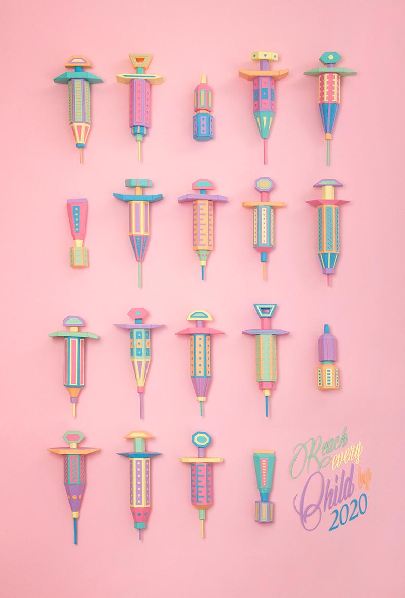 Adobe Portfolio paper art color vaccineswork children life Syringes pastel