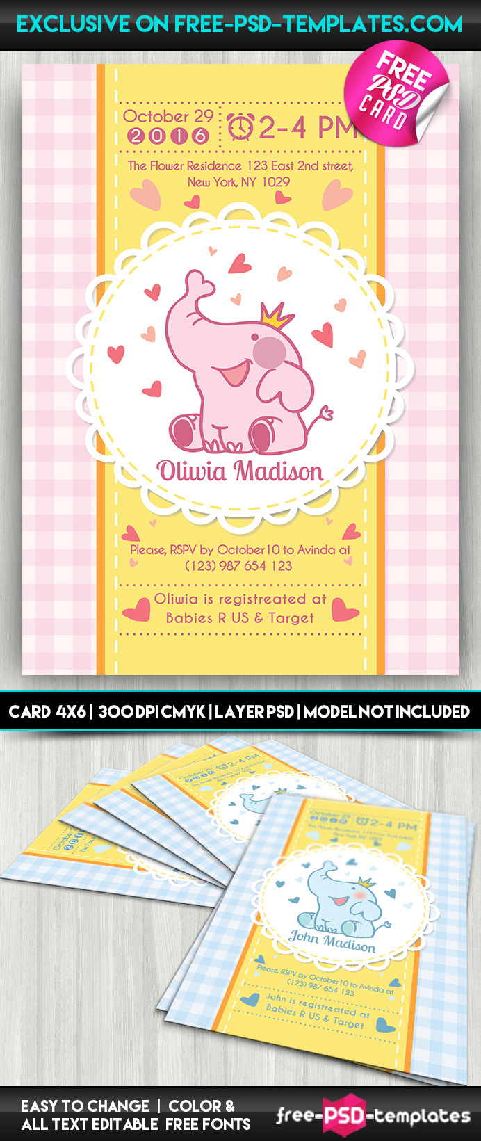 Baby Shower Card Free Psd Card Template On Behance