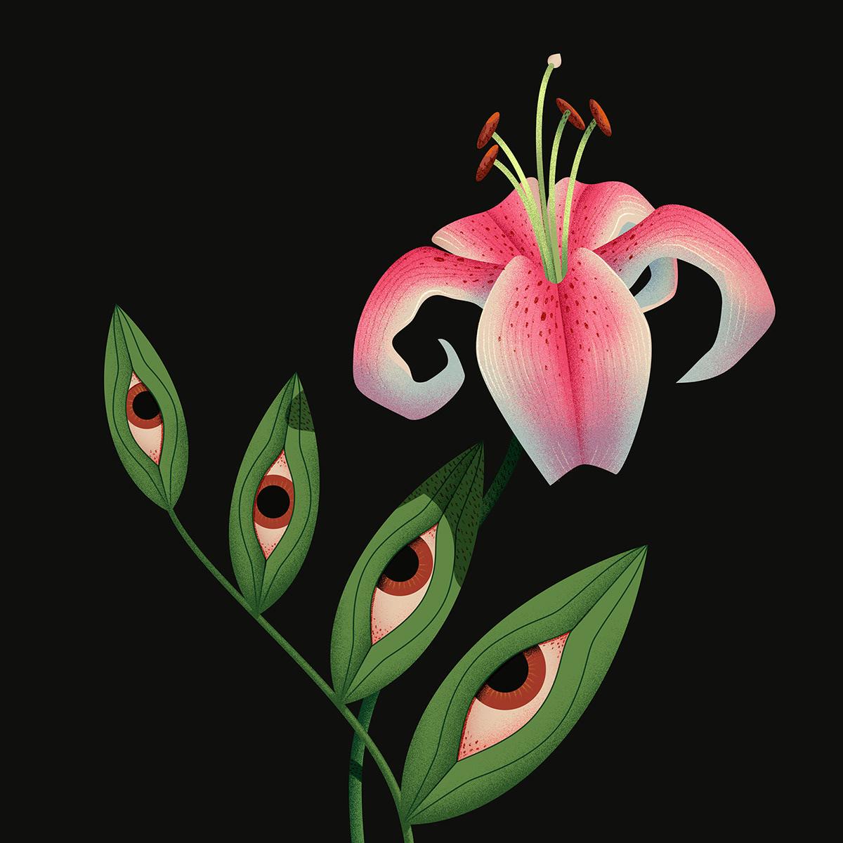 botanical eyes floral Flowers ILLUSTRATION  insect miminoshvili plants surreal trippy