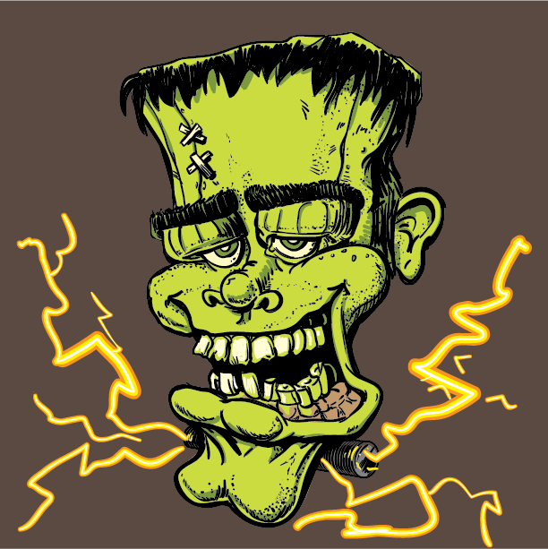 frankenstein monster green teeth shock Halloween funny