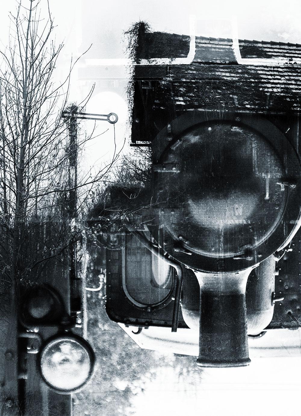 Fotografia kolej wąskotorowa colage