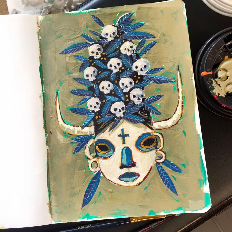 painting   acrylics sketchbook Analogue skull folk art Fun fish bird mask