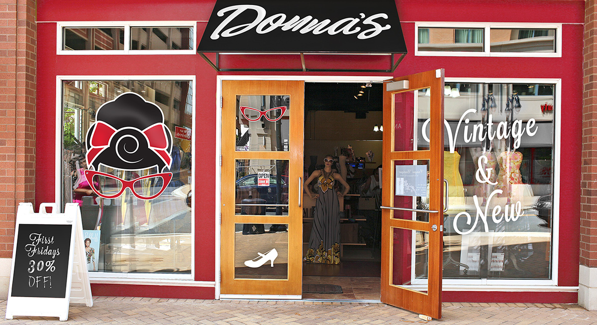 640a1690fd2 Exterior  Donna s Dress Shop offers a boisterous exterior paint job inlayed  with an old rustic feel. Bright red and white paint set this downtown 39th  ...