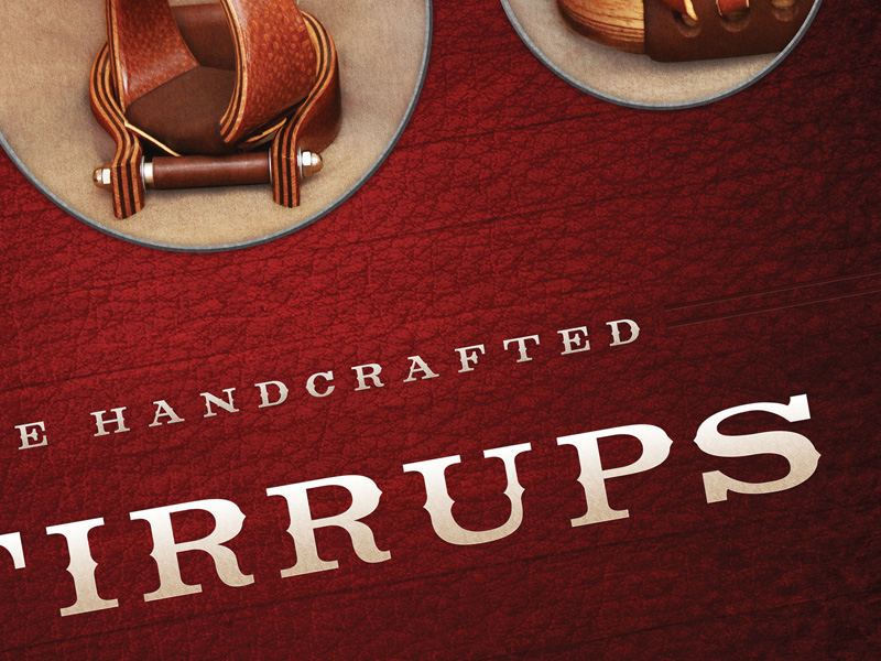 Logo Design banner design western rustic rugged textured cowboy cowgirl wood leather brown red horse Stirrups don orrell