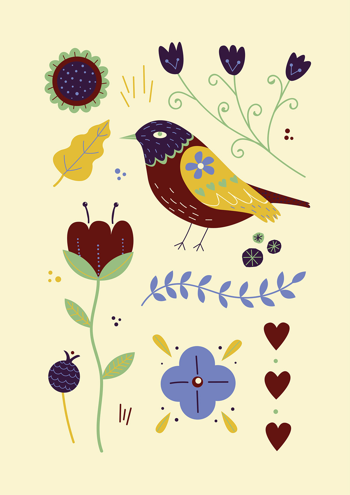 decorative illustration folk art illustration Modern Folk Art pattern design  pattern illustration bird floral flower Nature Plant
