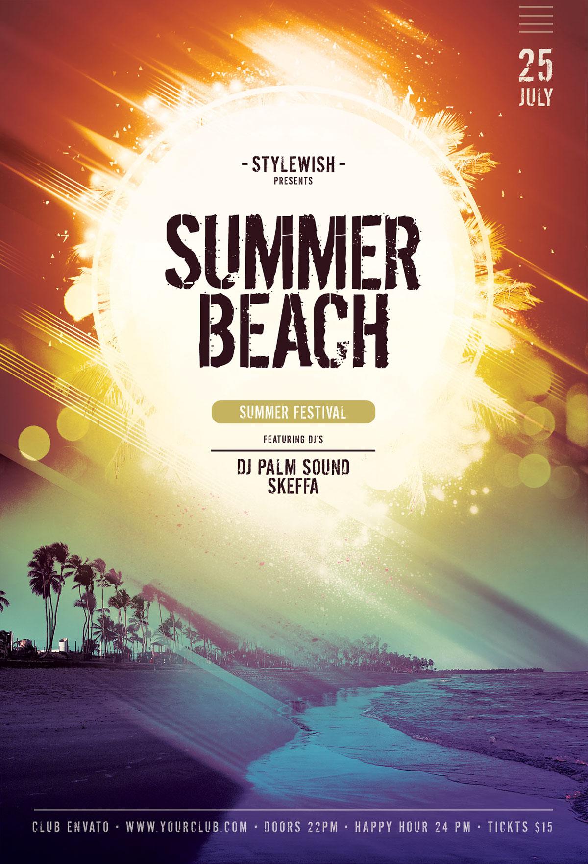 summer beach flyer on behance