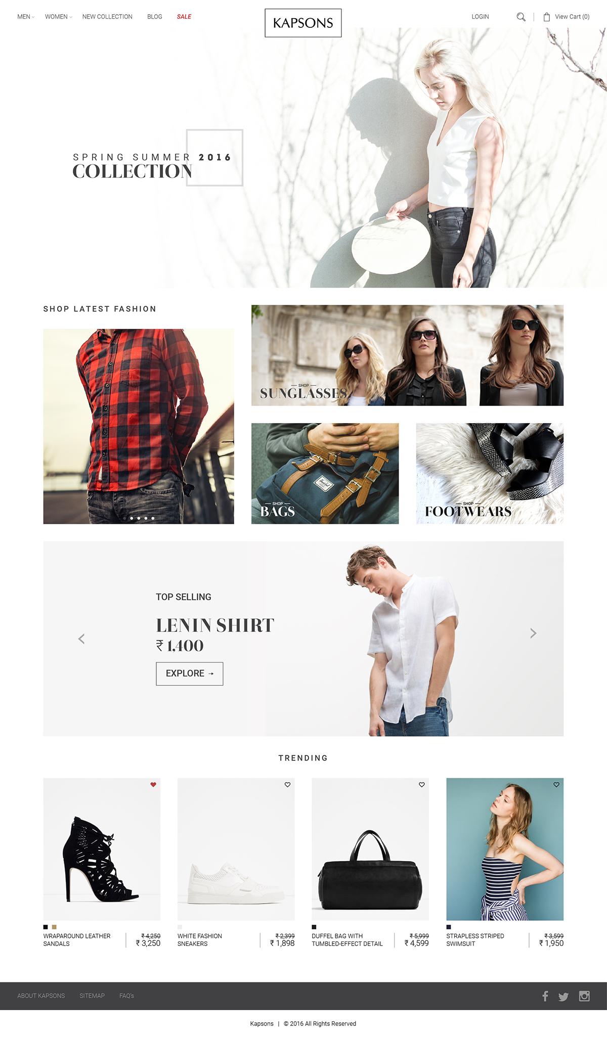 kapsons Website Shopping Ecommerce graphics men women bags online shopping