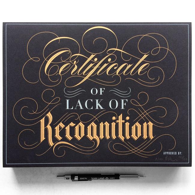 certificate Handlettering lettering nim_br recognition screenprint