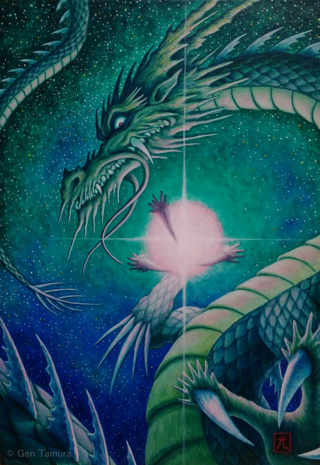 An acrylic painting of the Asian dragon