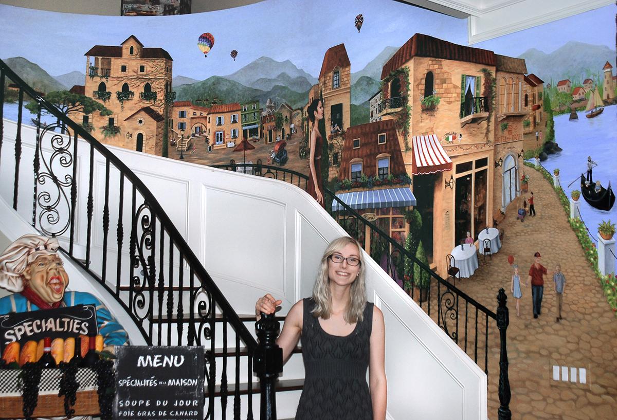 Mural paint shewan williams art city Cleveland agora block art swirl Spiral