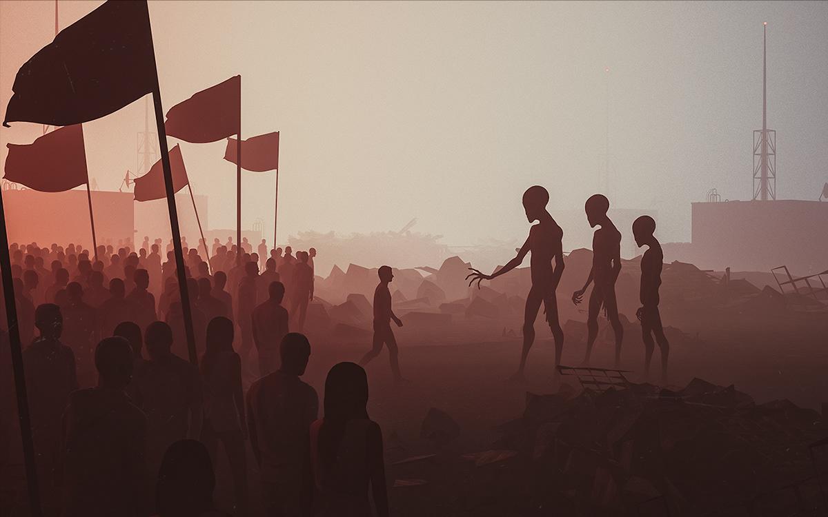 alien meet human