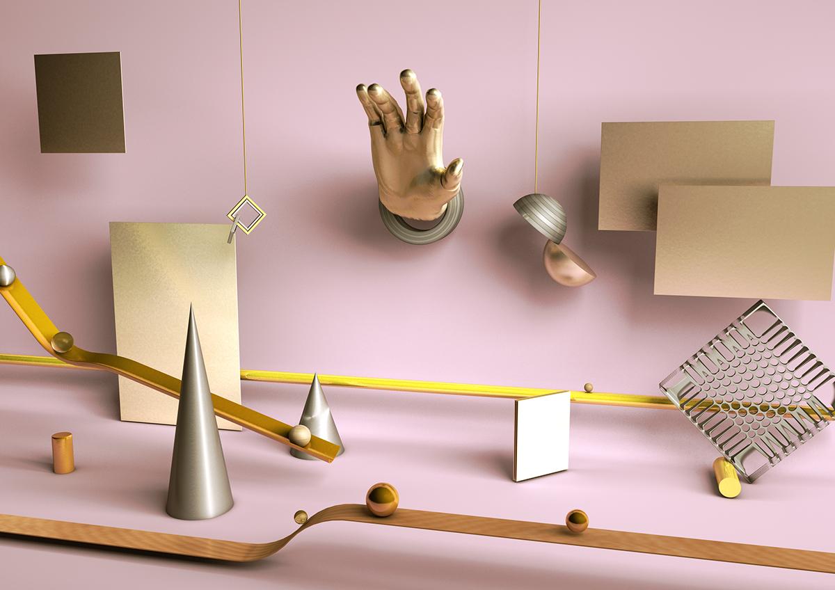 abstract hand pink gold graphic 3D Render artwork CGI c4d cinema4d scene
