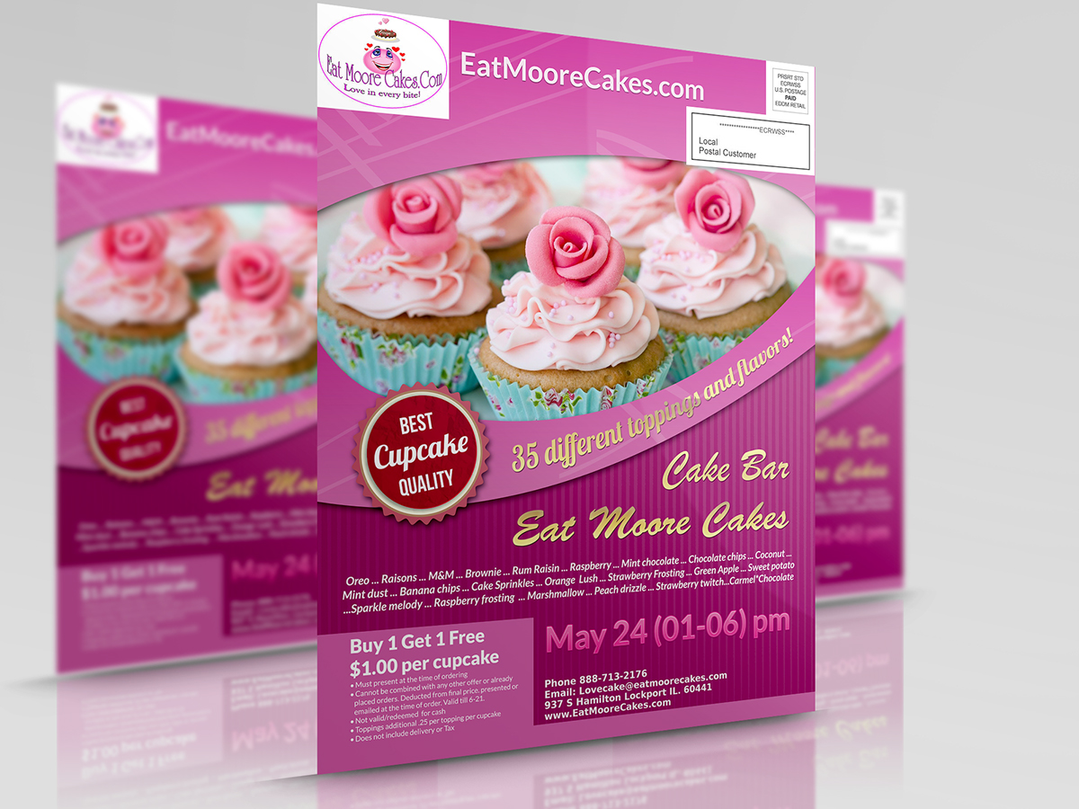 exclusive flyer design to eat moore cakes bakery on behance