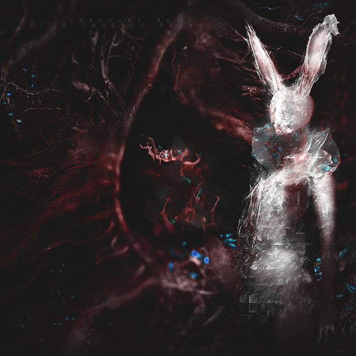 dark Dark Forest dark surrealism dawn the rabbit hole Metal art metal music photomanipulation surreal white rabbit wonderland