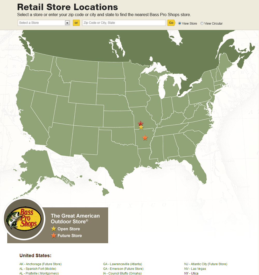 Bass Pro Shops Locations Map Store Map   Bass Pro Shops on Behance