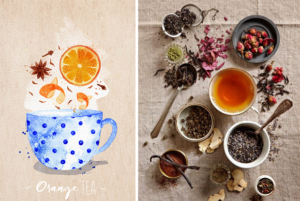 Watercolor Poster Tea Menu With Teacups Of Apple Berry Black Chamomile Green Hibiscus Lemon Mint Orange