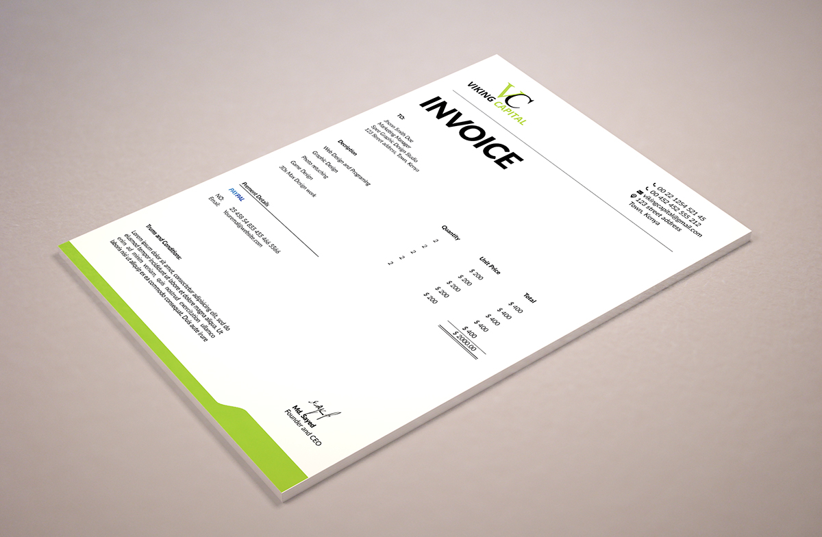 Minimalist Invoice Template On Behance