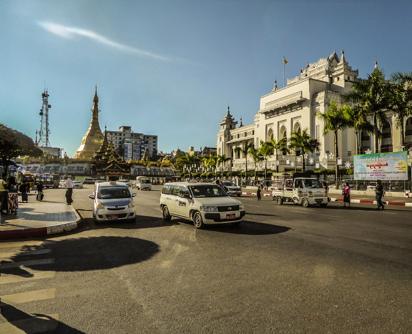 Chaotic traffic in Yangon Rangoon Myanmar
