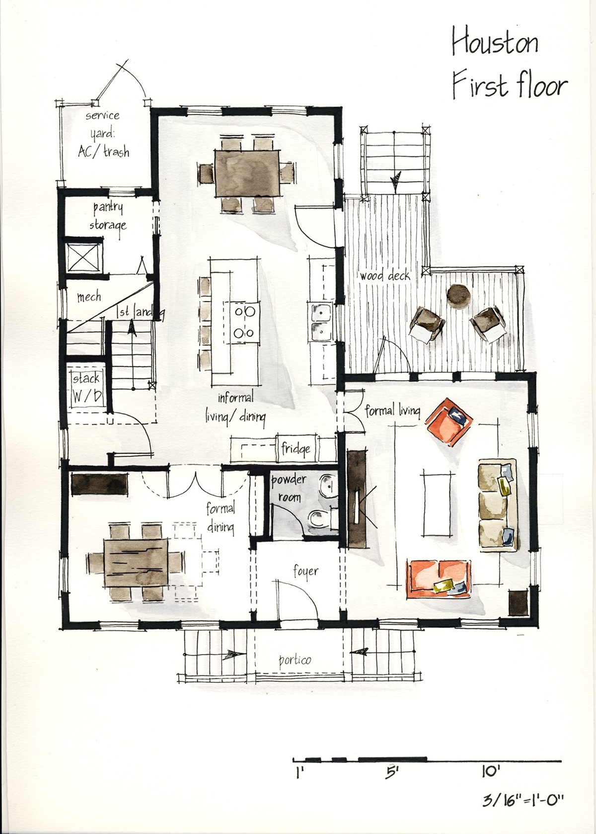 Real estate watercolor 2d floor plans part 1 on behance for Floor plans real estate