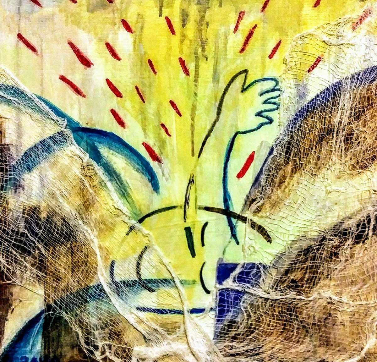 yukio kevin iraha's abstract illustration using mixed media about fight cancer.