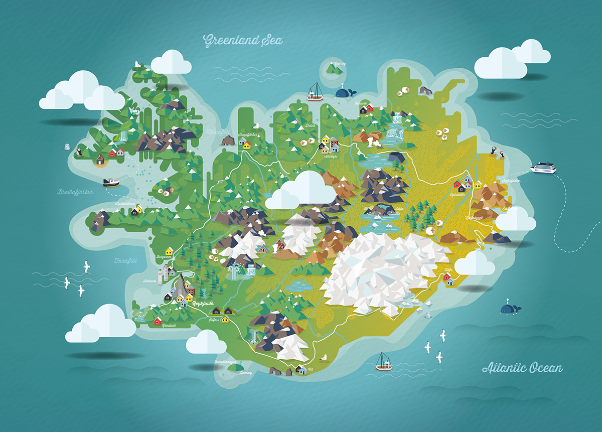 illustrated map of Iceland on Behance