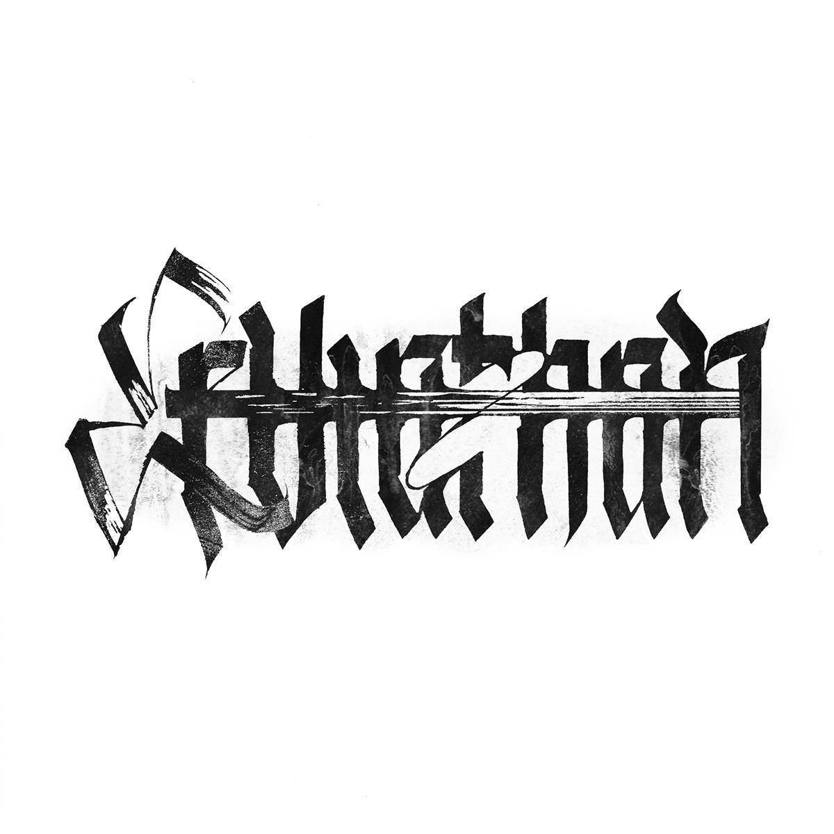 calligraffiti lettering type letters ink handtype handwritten Blackletter gothic modern calligraphy filthy grunge pltnk dirty Handlettering
